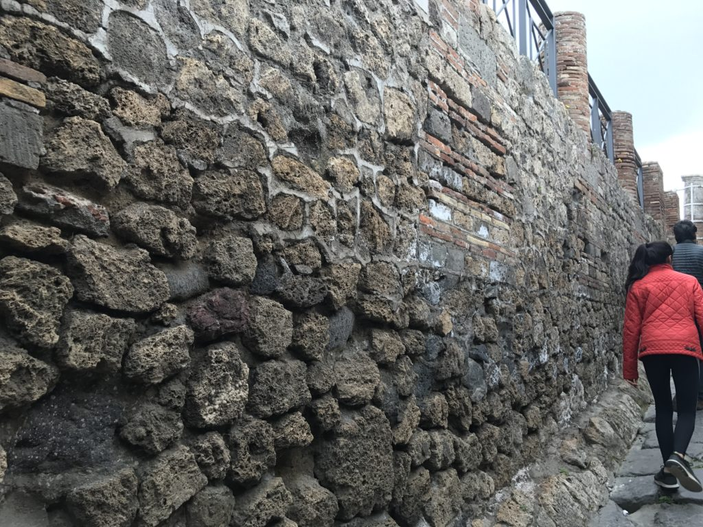 Throughout city there are many wall construction styles made with bricks or rock. They were used based on load on the wall, location and affordability.