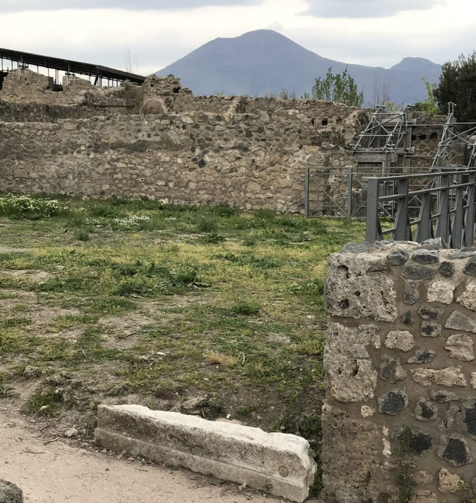 Securing the ancient structures of Pompeii, from from the impact of the weather. In a distance is Mount Vesuvius.