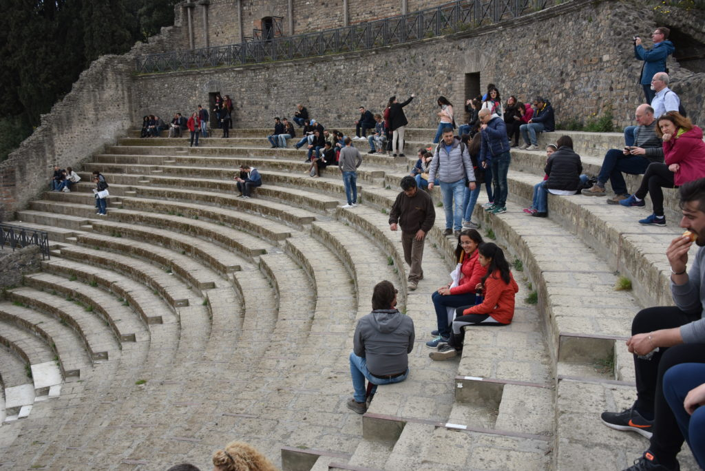 The steps are large even in the middle section. They may have had wooden seating on these and/or cushions.