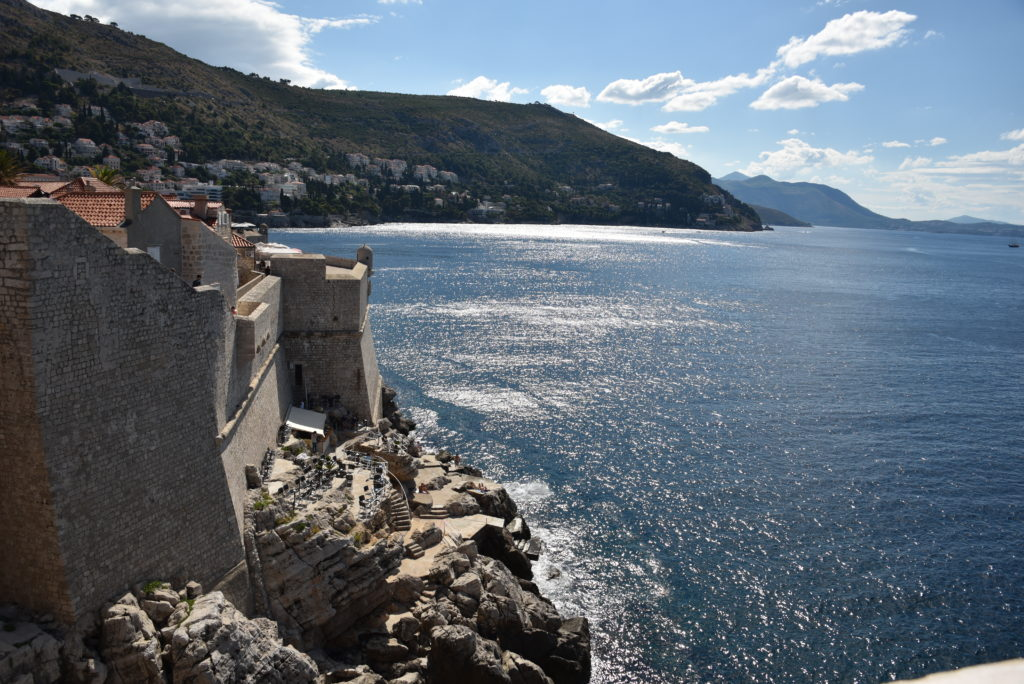 Dubrovnik beach access behind the high school has the best views of the ocean and Lokrum island.