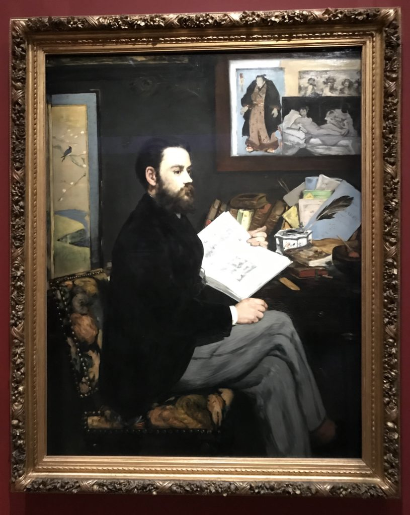 Manet painted Zola's portrait as a friendship gesture and for Zola's vocal support of Manet's controversial style, against all the other loud voices of the time.