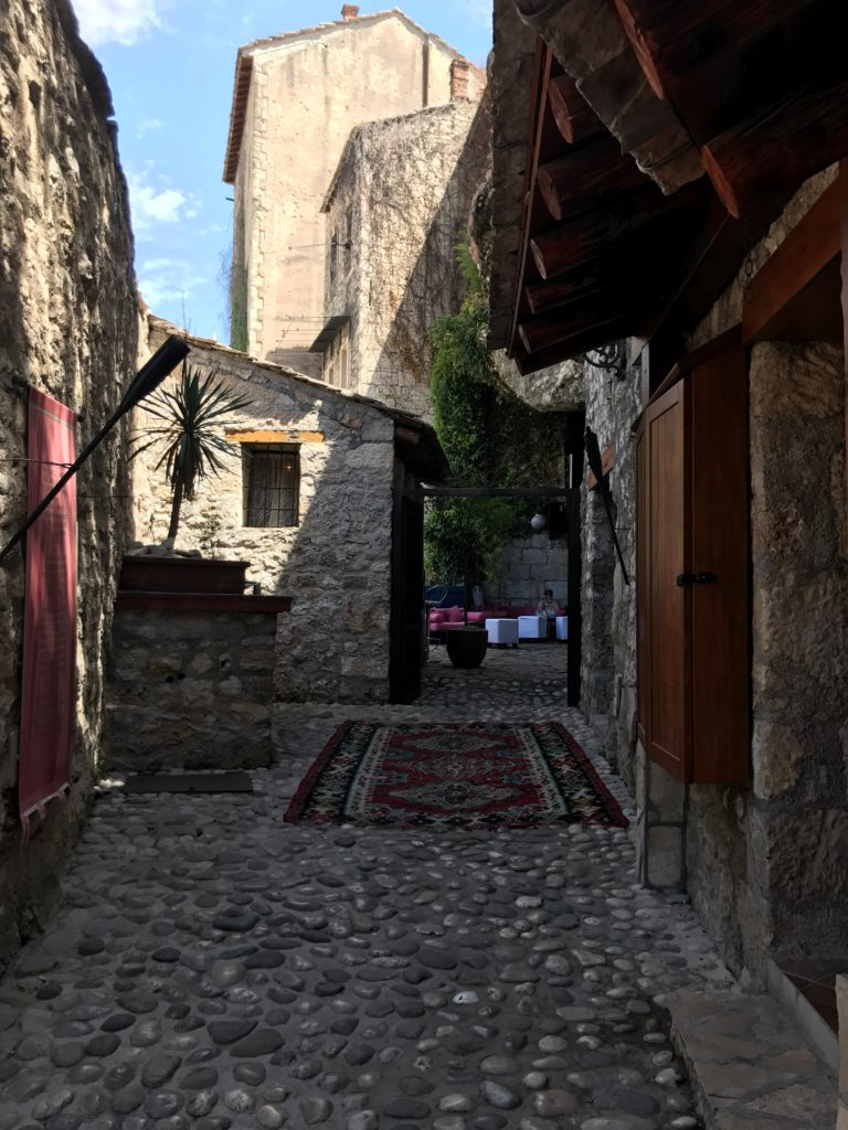 While the main path of Mostar is packed, the parallel lanes are quiet and beautiful.
