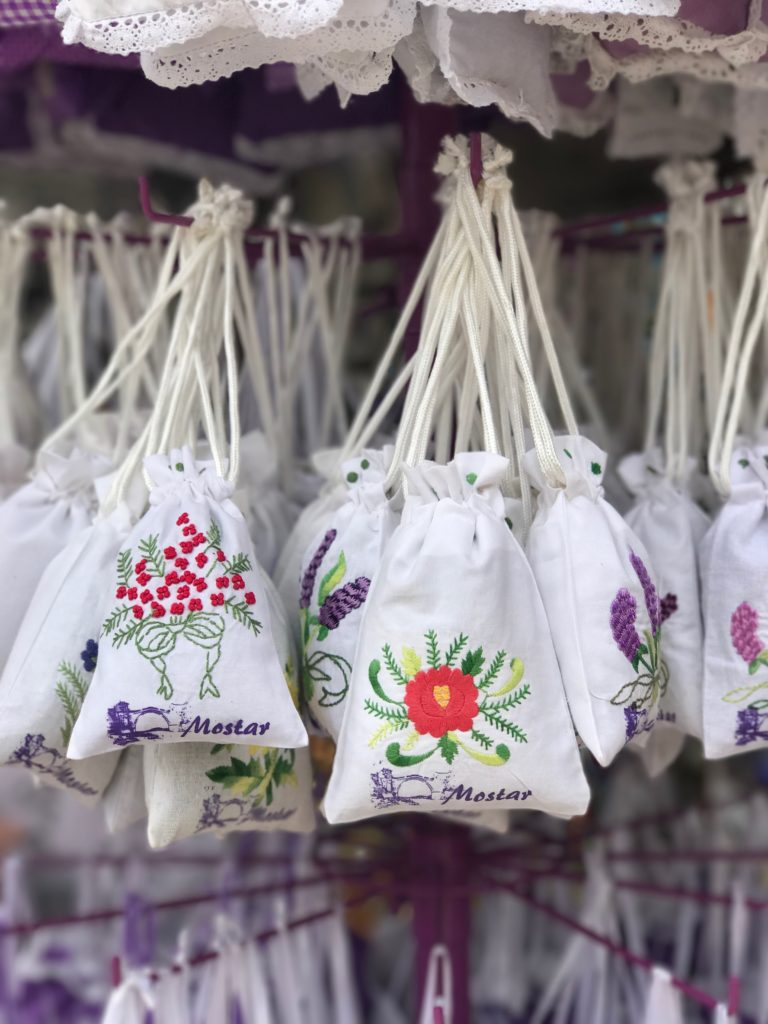 Many artisans sell pouches, bunches, dolls etc filled with fragrant lavender on streets of Old Town of Mostar