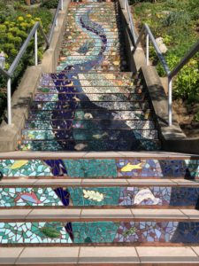 Three sections showing a larger scene at the 16th Avenue Tiled Steps