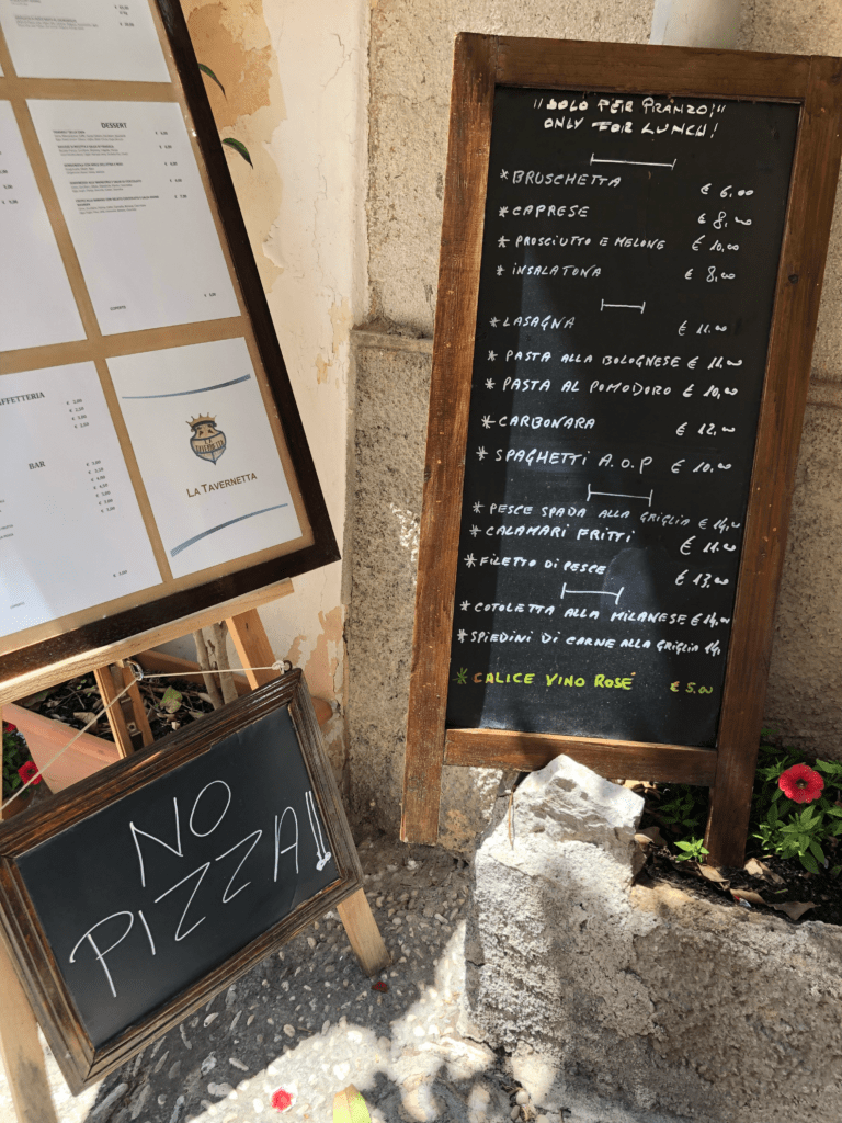 NO PIZZA in Sicily