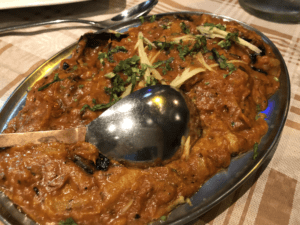 A deliciously creamy eggplant curry in Shiva's Indian Cuisine in St Julian's, Malta.