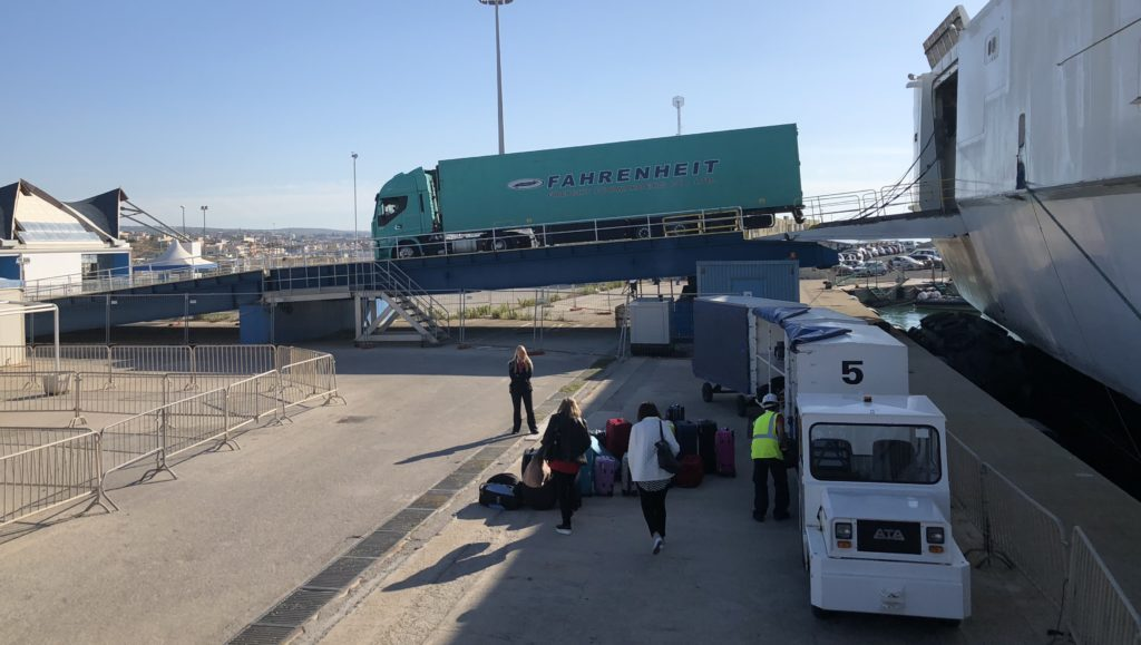 Malta gets its basic essentials from Sicily in trucks loaded on the ferry.