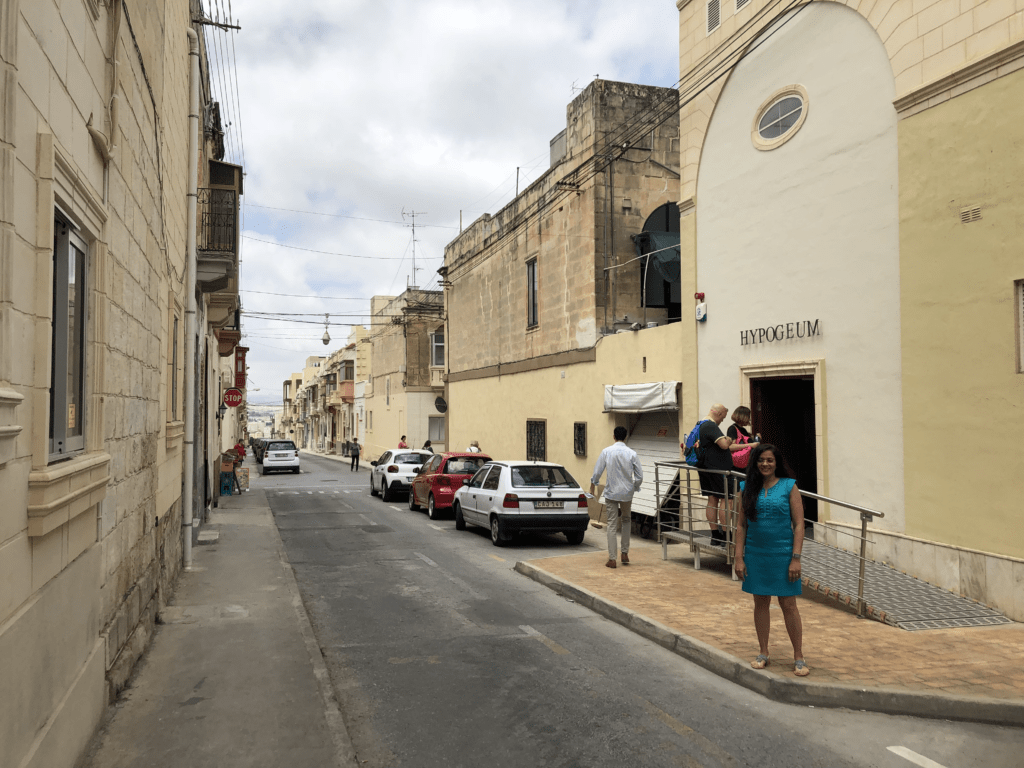 Malta's historic Hypogeum is located on a quiet street in a family neighborhood.