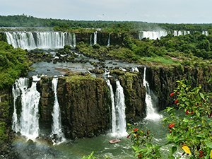 Classic view of Iguassu Falls from Brazil