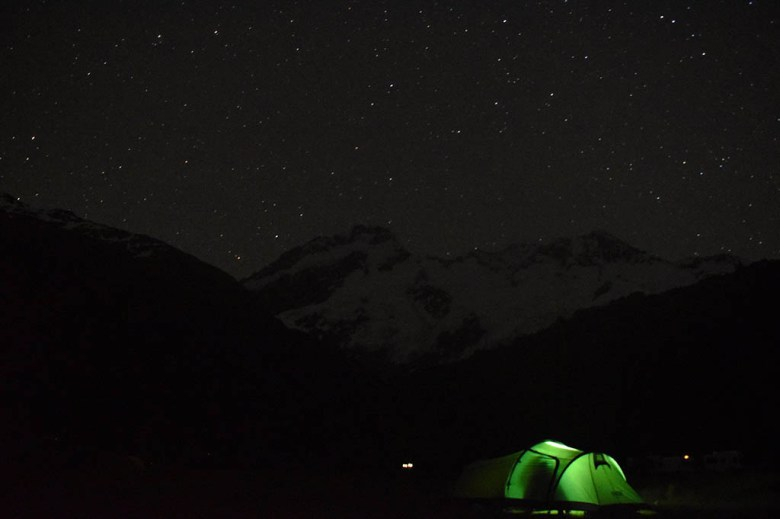 Our camping spot at White Horse Hill, Mount Cook