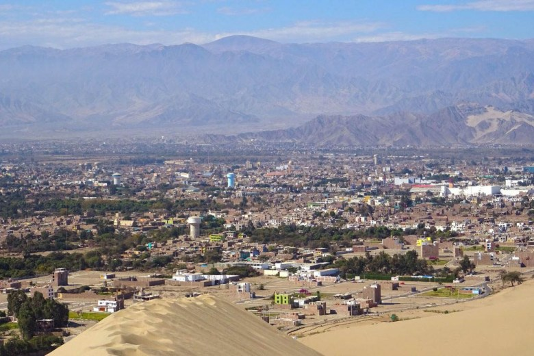 The view over Ica from atop one of Huacachina's giant sand dunes
