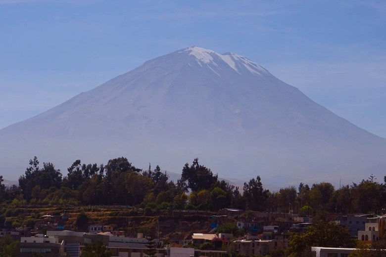 View of the 5,822m Misti Volcano peak from Arequipa city