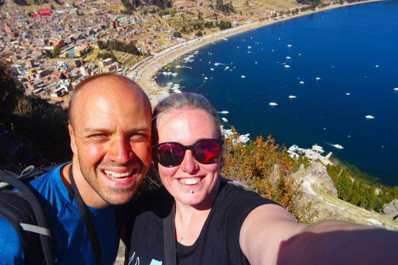 Lake Titicaca Bolivia style: looking down on Copacabana from the top of Cerro Calvario