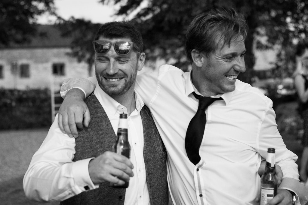 Wedding Friends, Black & white with Beer