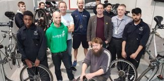 Derby College team with their cycles