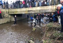 The ball going into the river during Shrovetide 2019. Photo: Oscar Edwards