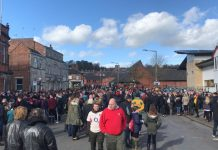 Crowds gathering in Ashbourne ahead of Shrovetide. Photo: Sophie Arnold