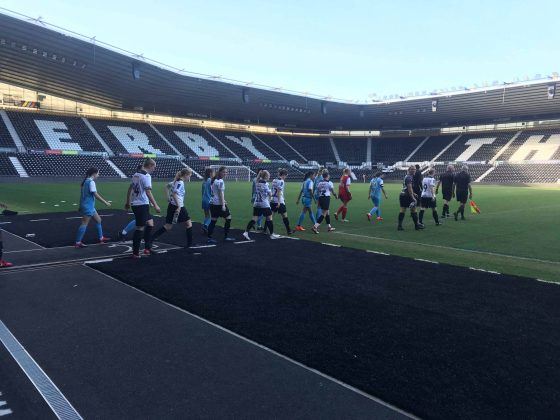 Derby players walk out at Pride Park