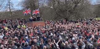 The ball being turned up at Ashbourne Shrovetide