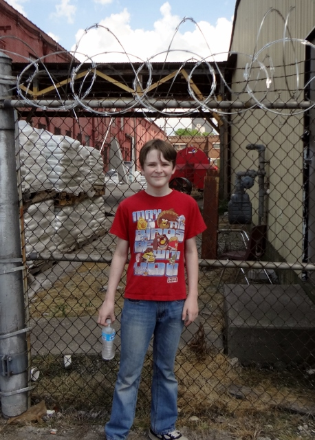 Oldest was impressed with the razor wire