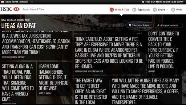 A screenshot of HSBC's content marketing aimed at British expats