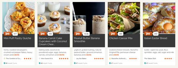 screenshot of cards on a recipe site