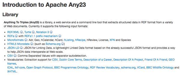 Screenshot of Apache Any23