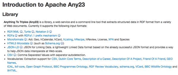 Screenshot of Apache Any23