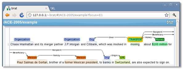 Tagging a verb with a taxonomy term.  Screenshot via Brat.