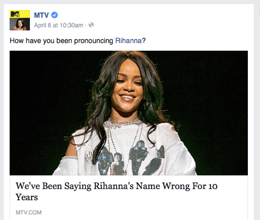 screenshot of MTV Facebook