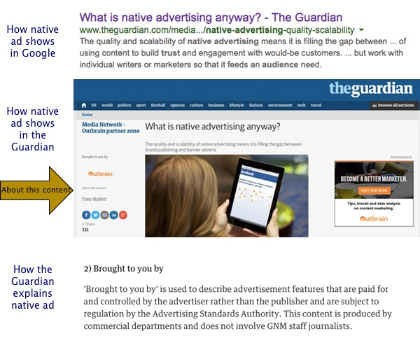 The Guardian offers sponsored content in a non-transparent way.  To many people, the content will not appear to have paid for as an advertisement.