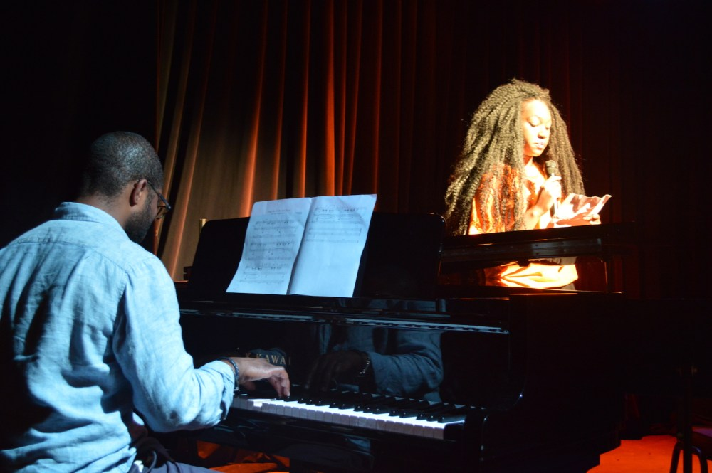 Ron Robinson accompanies Teen Council member Elysse. 4/30/2016 rehearsal for the St. Louis Storytelling Festival