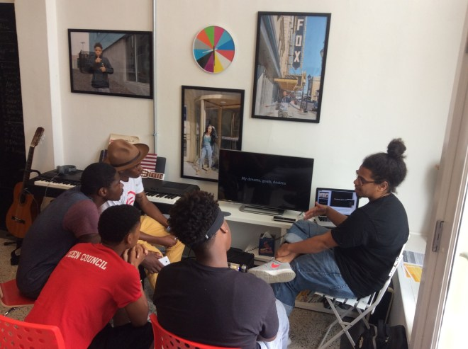 Kahlil Irving discusses his artistic career with teens during a Curating Teen Voices Workshop #3.