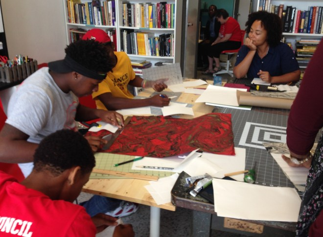 Visiting Artist Addoley Dzegede conducts a bookbinding workshop for Curating Teen Voices. August 29, 2015.
