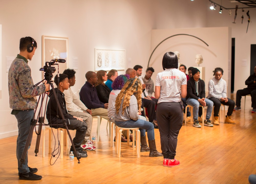"11.15.2015--""Not another one!"", a videotaped conversation about gun violence with St. Louis teens and community leaders, was held at the Des Lee Gallery in St. Louis. The event was organized by the Institute for Public Health and St. Louis Story Stitchers. Photo by Whitney Curtis/WUSTL Photos"