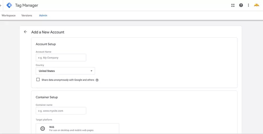 How To Set Up Google Tag Manager (GTM) On A Squarespace Website - New Account
