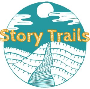 The Story Trails logo: a sea blue background with a white hill and path leading up it. The Words 'Story Trails' in tangerine orange across the image.