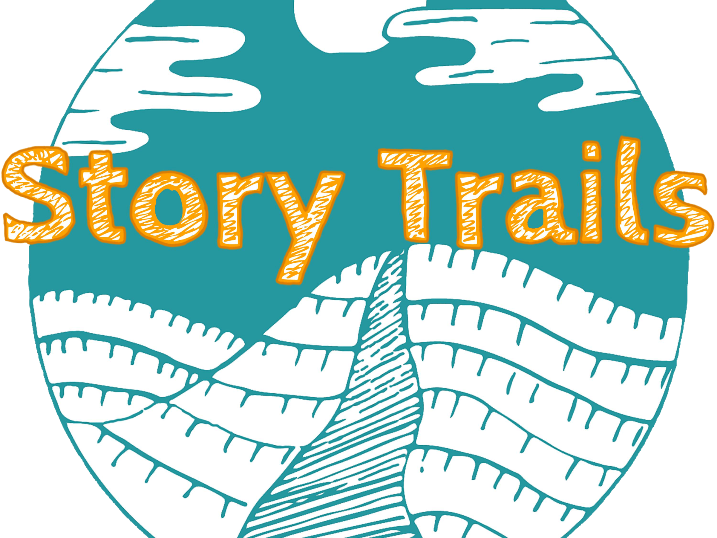 Story Trails logo: a sea-green background with a white hill and path leading up it. The words 'Story Trails' in tangerine orange.
