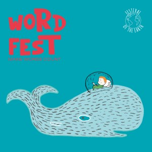The Wordfest logo.  A blue square with the words 'Word Fest' i the top left and 'Festival of the Earth' in the top right.  A picture of a whale with a boy sitting on its back in a bubble, reading a book.