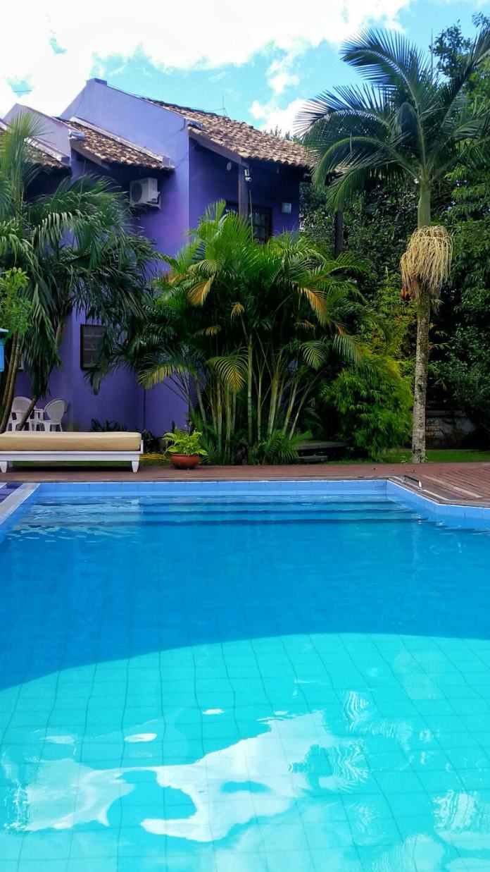 The pool next to our room at Hotel Saint Germain, Florianópolis - Are you looking for an affordable yet relaxing hotel in Florianópolis, Brazil? Check out our Florianópolis hotel review of Hotel Saint Germain, located on the lake in Lagoa da Conceicão!