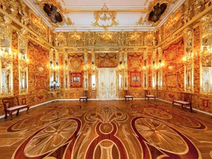 Shades of the World Series: A wide shot of Amber Room in Catherine Palace showing the splendid flooring and intricate interior in orange shade
