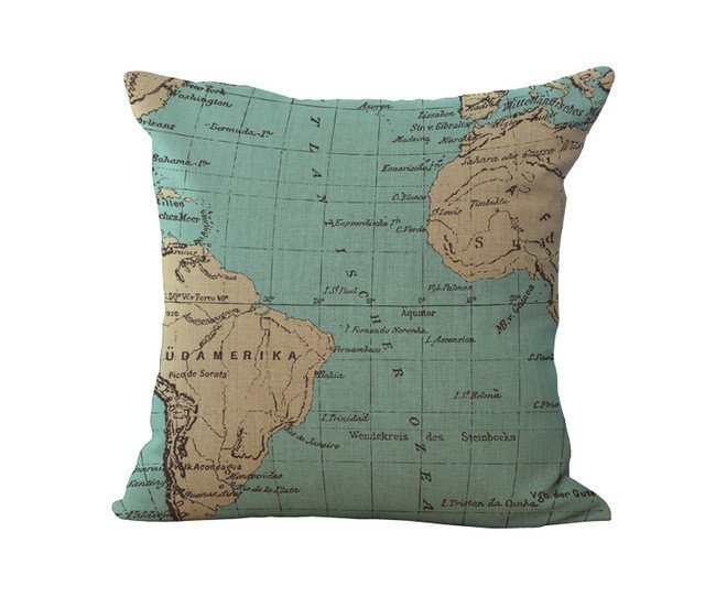 Nautical World Map Cushion Cover - Summer Travel Gifts For Female Travelers