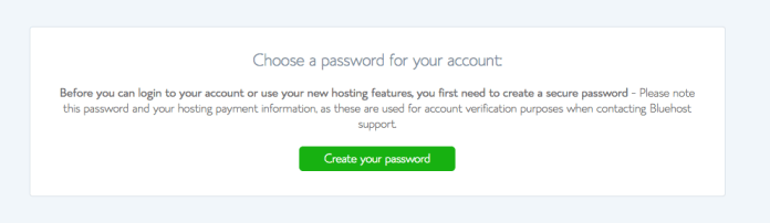 How to start a self-hosted WordPress blog with Bluehost - Step 2.7: Create a password