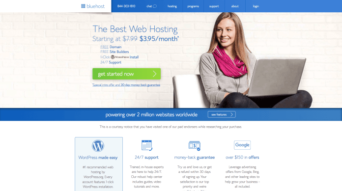 How to start a self-hosted WordPress blog with Bluehost - Step 2.1: Click get started