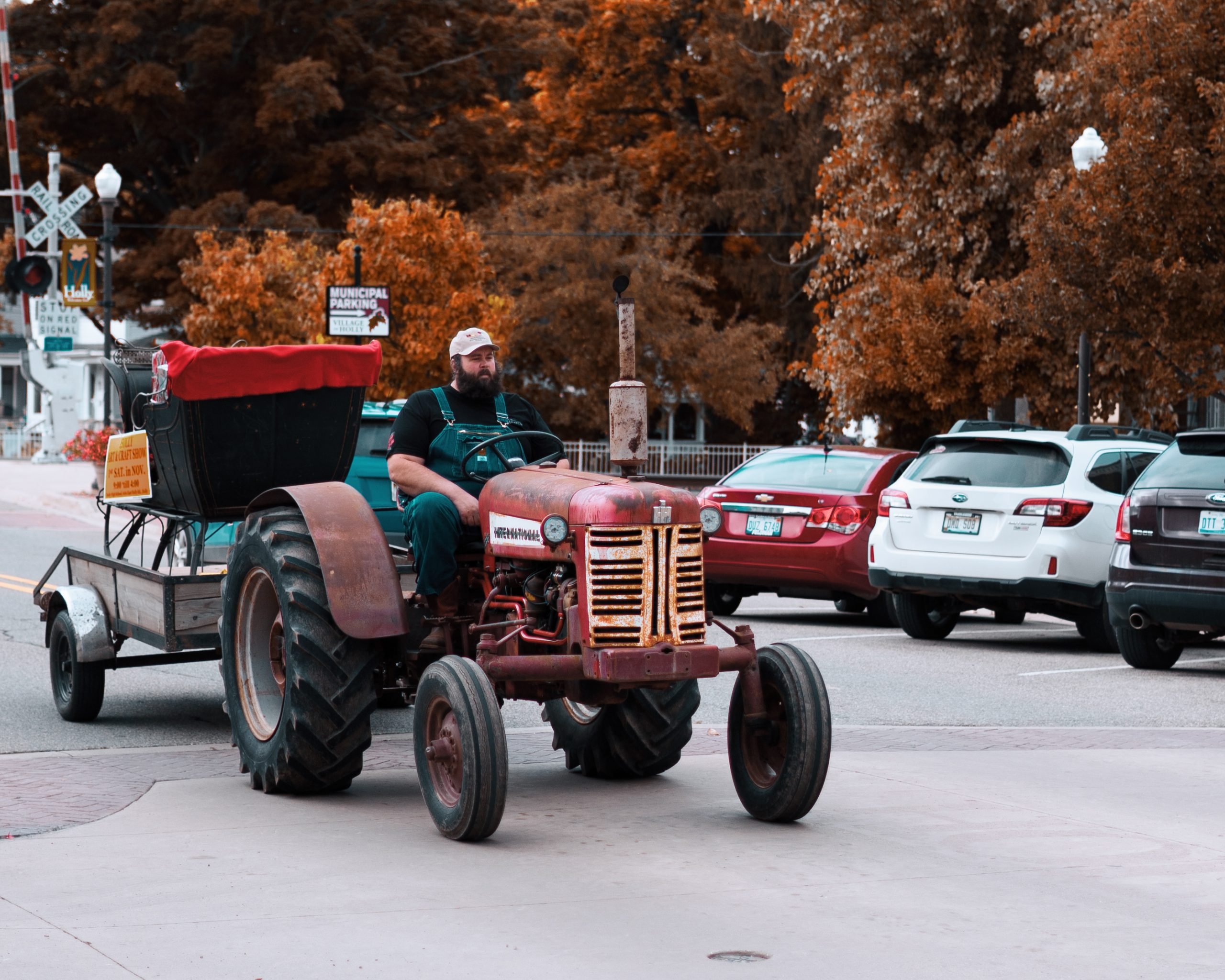 A man driving a tractor in Holly
