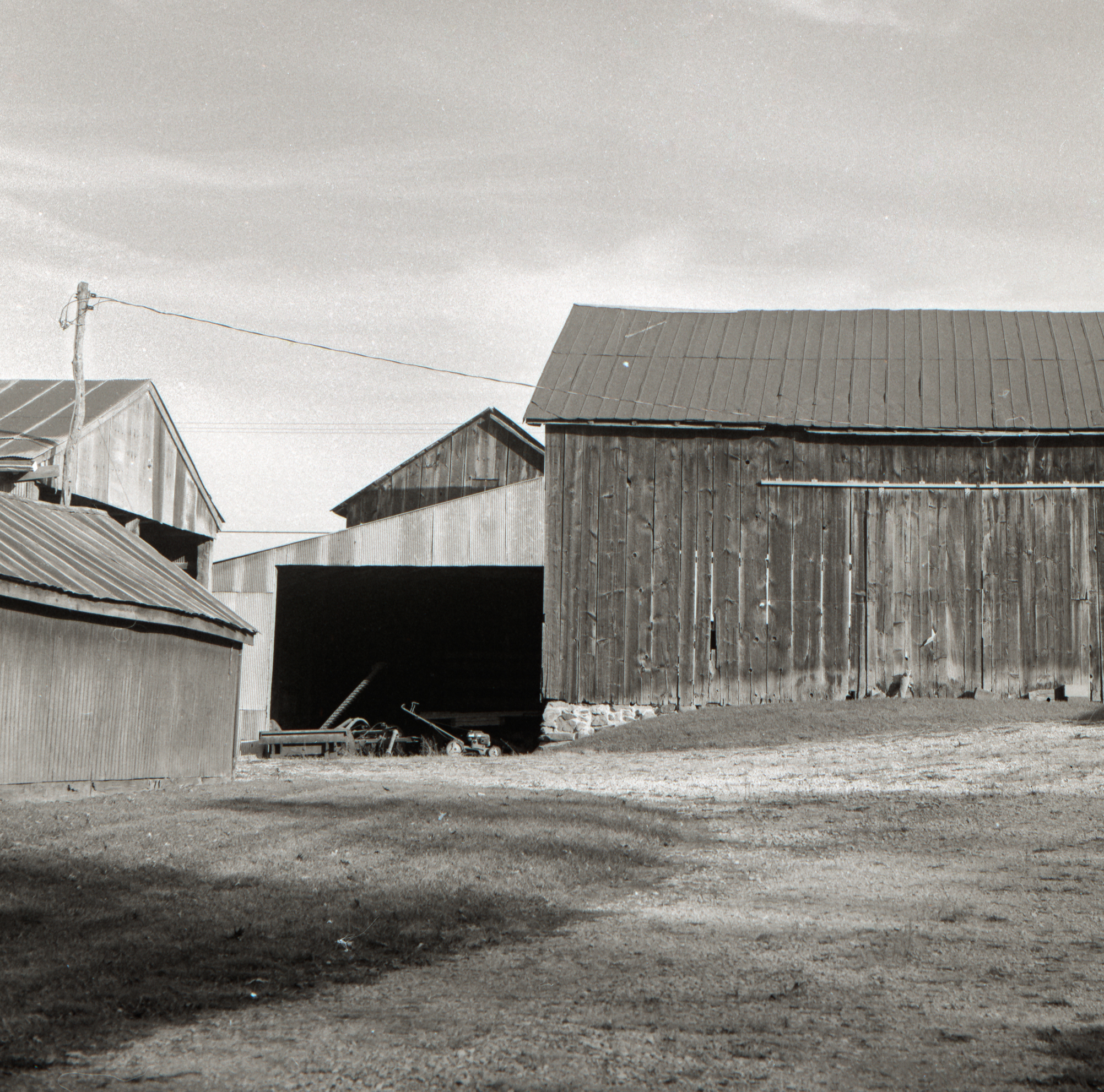 A close cluster of barns shot on Ilford FP4+