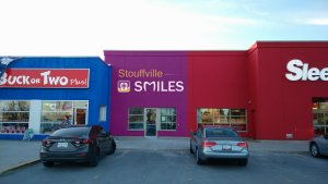 simulated outside view of Stouffville Smiles Dentistry in LCBO plaza