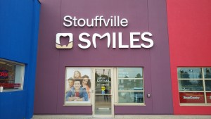 Outside of Stouffville Smiles Dentistry near LCBO and Shoppers Drug Mart