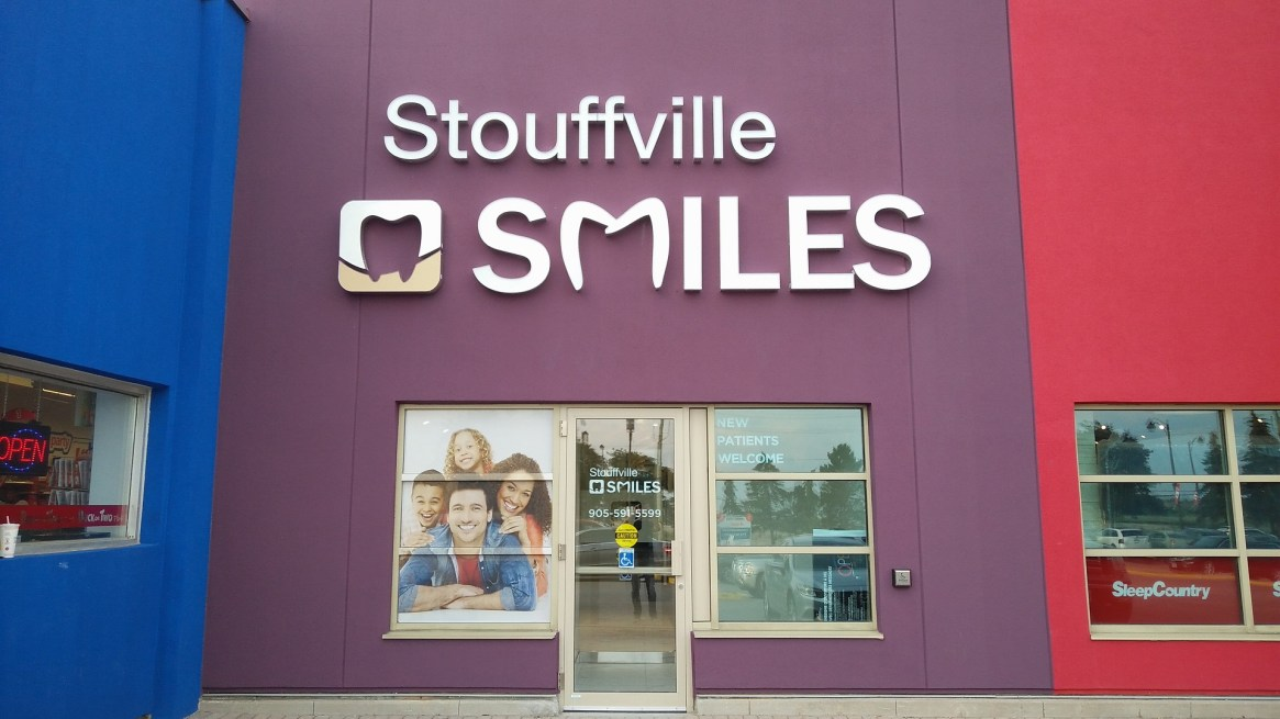 Outside of Stouffville Smiles Dentistry near LCBO and Shoppers Drug Mart