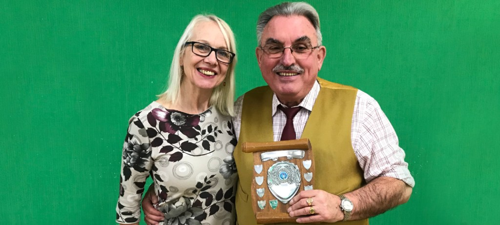 Dilwyn Scott being presented with his award for winning the Topics Contest, by Sue Deeley